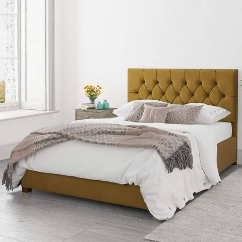 Aspire Furniture Olivier Ochre Superking Plush Velvet Ottoman Bed