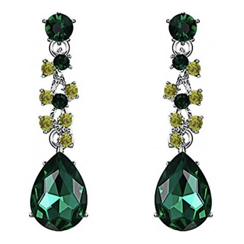 Liv Oliver Silver Plated Green Crystal Drop Earrings