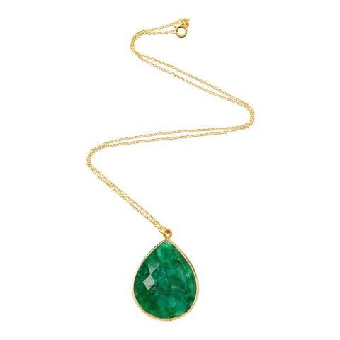 Liv Oliver 18K Emerald Pear Drop Pendant Necklace