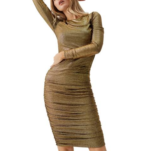 Melissa Odabash Gold Taylor Fitted Dress