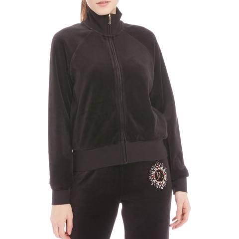 Juicy Couture Black Cotton Velour Full Zip Sweatshirt