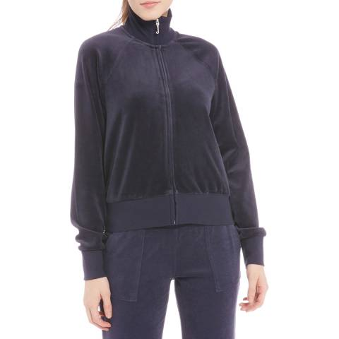 Juicy Couture Navy Cotton Velour Full Zip Sweatshirt