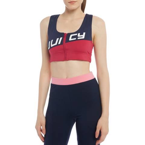 Juicy Couture Navy/Red Full Zip Crop Top