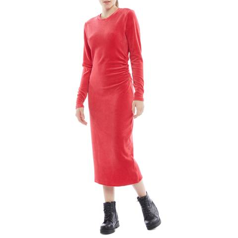 Juicy Couture Red Midi Long Sleeve Dress