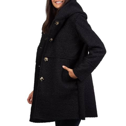 Comptoir du Manteau Black Hooded Sherpa Coat
