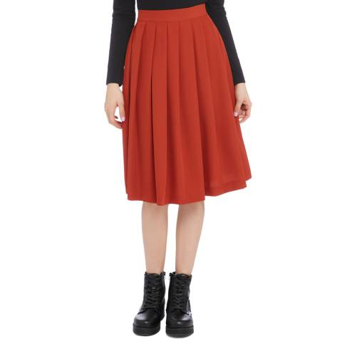 STEFANEL Red Wool Pleated Skirt