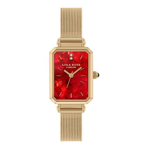 Lola Rose Gold Ruby Rectangle Mesh Watch 20mm