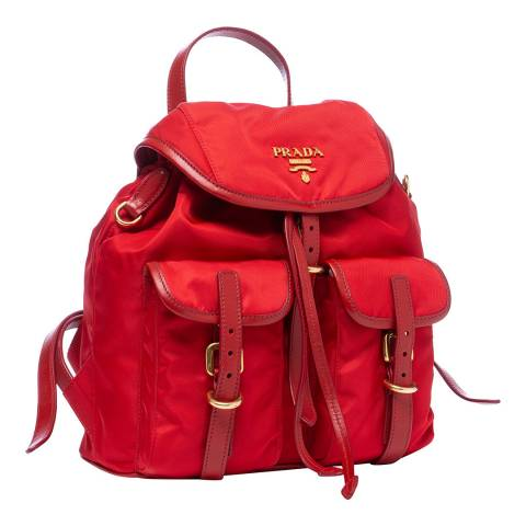 Prada Red Nylon Backpack
