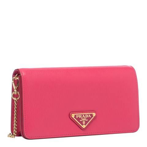 Prada Peony Pink Leather Crossbody Bag