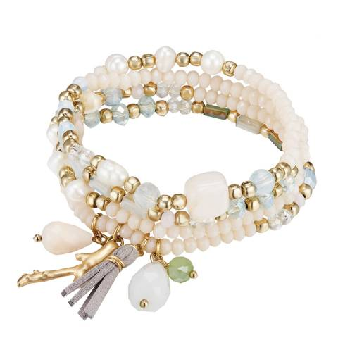 Runway Gold/Multi Coloured Freshwater Pearl and Crystal Bracelet