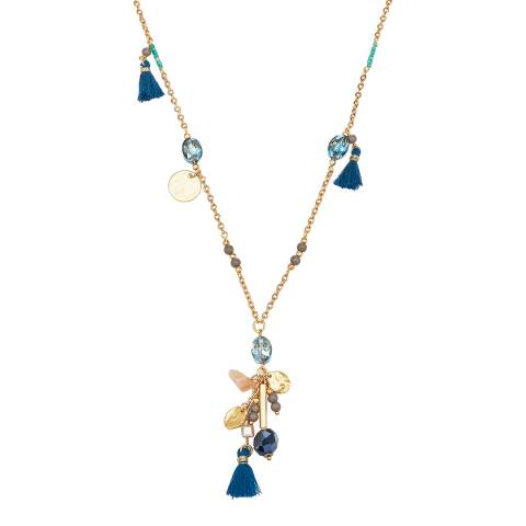 Runway Gold/Blue Crystal Necklace