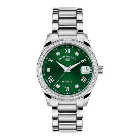 Andre Belfort Women's Silver/Green Stainless Steel Watch