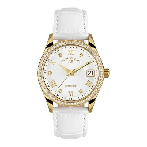 Andre Belfort Women's White/Gold Leather Watch