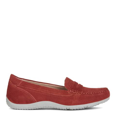 Geox Red Vega Suede Moccasins