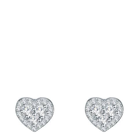 Carat 1934 Silver Crystal Heart Earrings