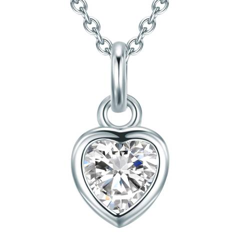 Carat 1934 Silver Crystal Heart Necklace