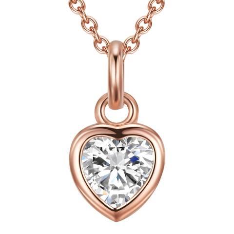 Carat 1934 Rose Gold Crystal Heart Necklace