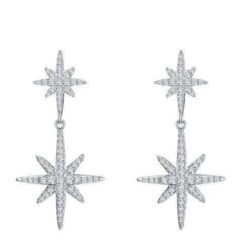 Carat 1934 Silver Crystal Star Earrings