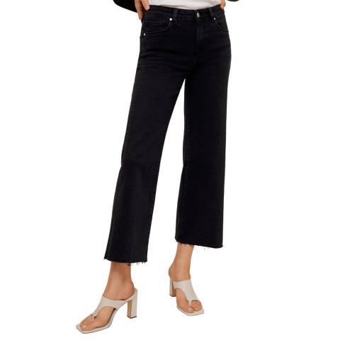 Mango Black Denim Mid Waist Culotte Jeans