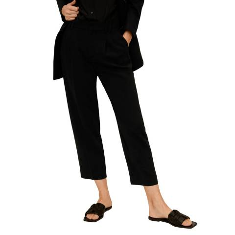 Mango Black Darted Crepe Trousers