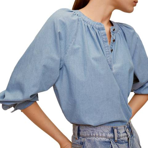 Mango Light Blue Puffed Sleeves Cotton Blouse