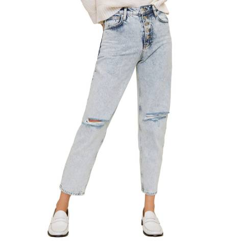 Mango Bleach Blue Faded Mom-Fit Jeans