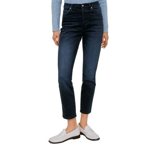 Mango Deep Dark Blue Jeans High Waist Slim Gisele