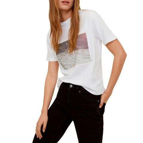 Mango Off White Organic Printed Cotton T-Shirt
