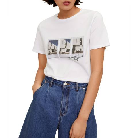 Mango White Organic Printed Cotton T-Shirt
