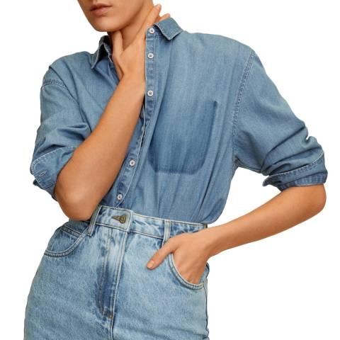 Mango Medium Blue Oversize Denim Shirt
