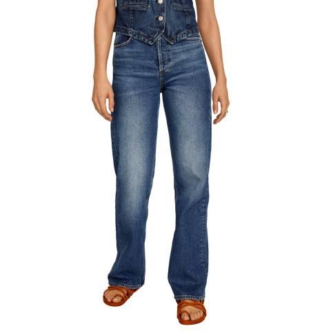 Mango Dark Blue Wide Leg High Waist Jeans