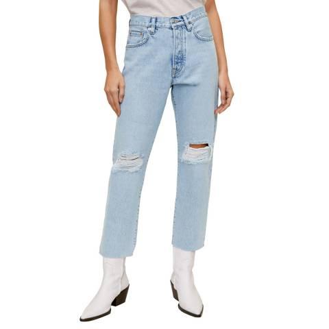 Mango Medium Blue Straight Fit Cropped Jeans