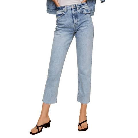 Mango Light Blue Straight Crop Jeans
