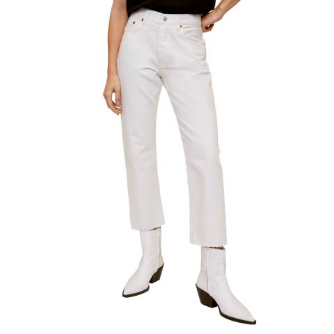 Mango White Straight Fit Cropped Jeans