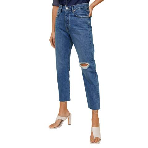 Mango Dark Blue Straight Fit Cropped Jeans