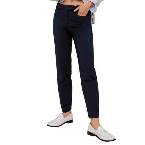Mango Dark Navy Cotton Crop Trousers