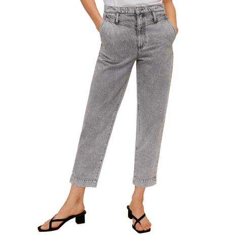 Mango Denim Grey Jeans Straight High Waist