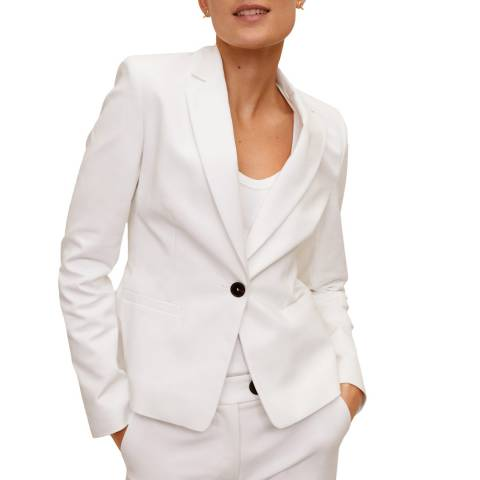 Mango White Essential Structured Blazer