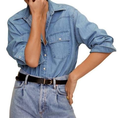 Mango Medium Blue Denim Shirt
