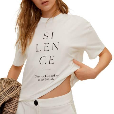 Mango Off White Message Cotton T-Shirt