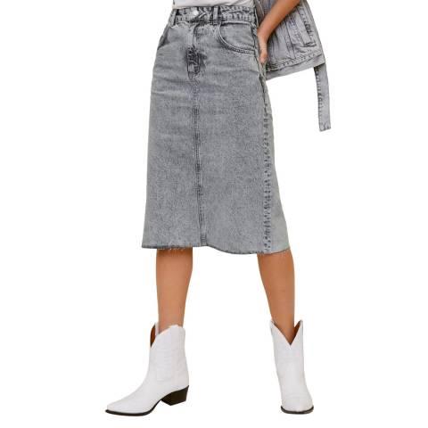 Mango Denim Grey Faded Denim Skirt