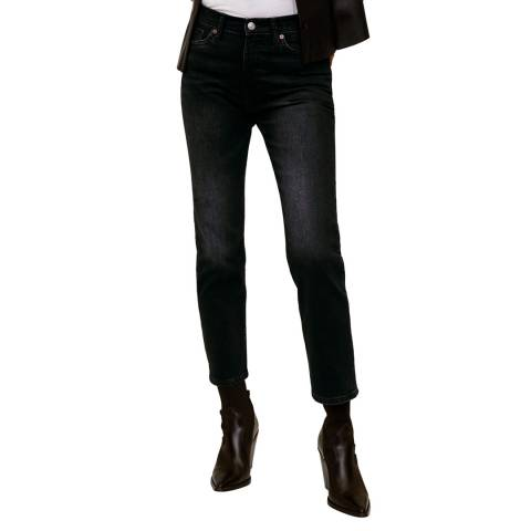 Mango Black Denim Crop Slim-Fit Grace Jeans