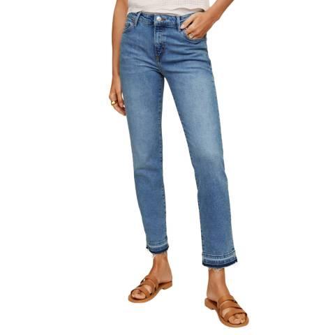 Mango Medium Blue Cropped Skinny Jeans