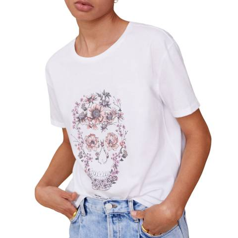 Mango Off White  Illustration Printed T-Shirt