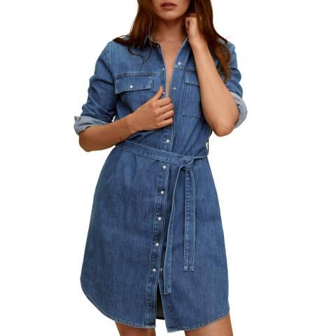 Mango Dark Blue Belt Denim Dress