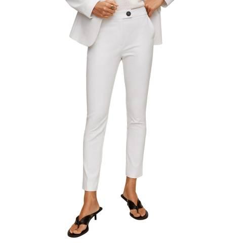 Mango White Straight Cotton Trousers