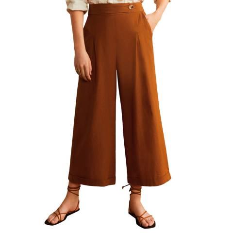 Mango Mustard Cotton Culotte Trousers