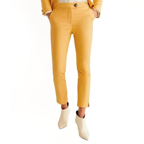 Mango Mustard Straight Cotton Trousers