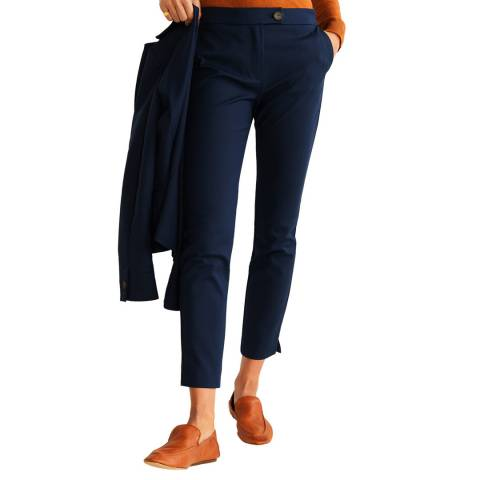 Mango Dark Navy Straight Cotton Trousers