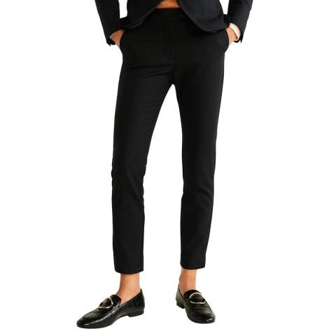 Mango Black Straight Cotton Trousers